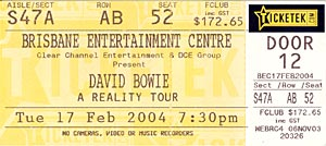 Scan of my David Bowie ticket - Reality Tour, Brisbane gig 17th Feb 2004